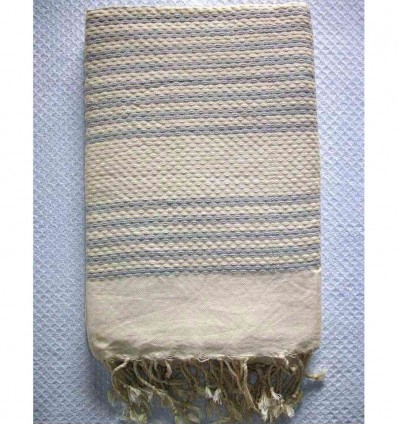 Honeycomb striped 1cm light grey stripes fouta