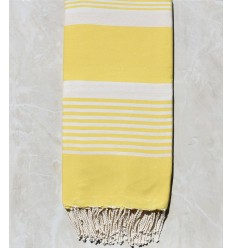 Ochre yellow striped throw