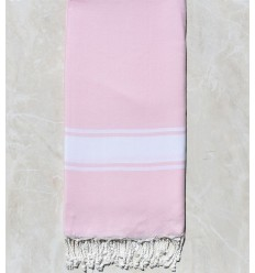 Light pink striped white throw