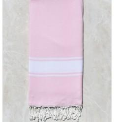 Light pink striped white throw