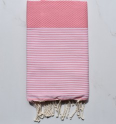 Beach Towel white striped pastel pink