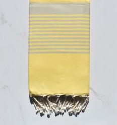 Beach Towel light yellow arthur striped light taupe