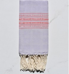 Beach Towel thalasso light lavender with red patterns