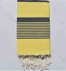 Beach Towel yellow arthur with dark blue jean stripes