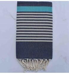 Beach Towel arthur blue jeans, off-white striped tiffany blue