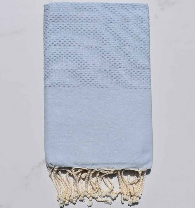 Plain honeycomb light blue fouta