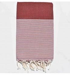 HONEYCOMB dark red striped white fouta