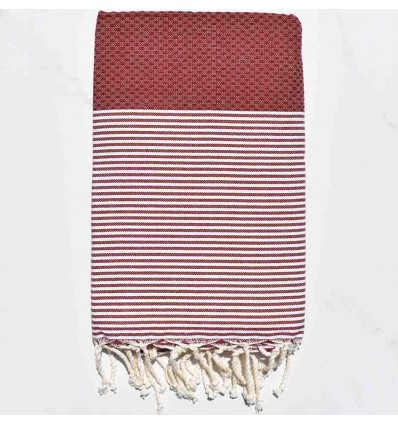 HONEYCOMB dark red striped white fouta