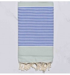 Beach Towel pale green striped blue and white