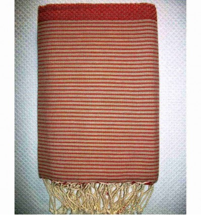 Honeycomb red orange striped beige fouta