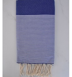 HONEYCOMB ultramarine blue striped white fouta