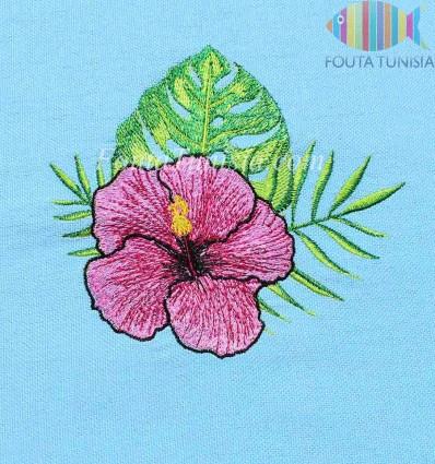 beach towel light blue embroidered flower