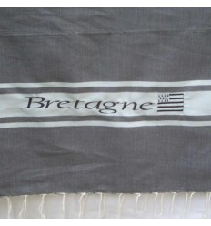 Embroidered grey Bretagne fouta