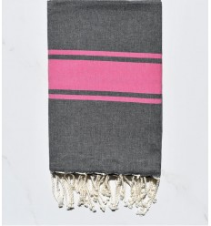 Beach Towel flat dark gray with pink stripes