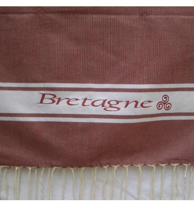 Embroidered brick red Bretagne fouta