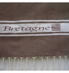 Embroidered brown Bretagne fouta