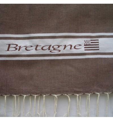 Embroidered brown Bretagne fouta