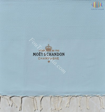 light blue beach towel embroidered Moët & Chandon Champagne