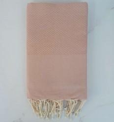 Plain honeycomb pink ochre fouta
