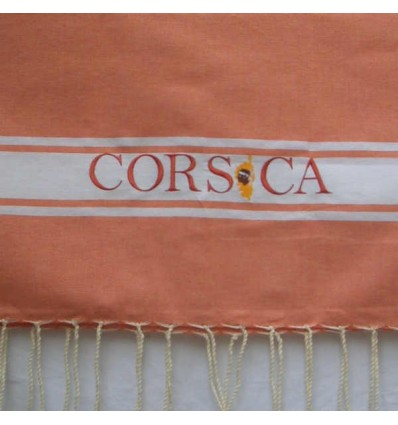 Embroidered salmon Corsica fouta