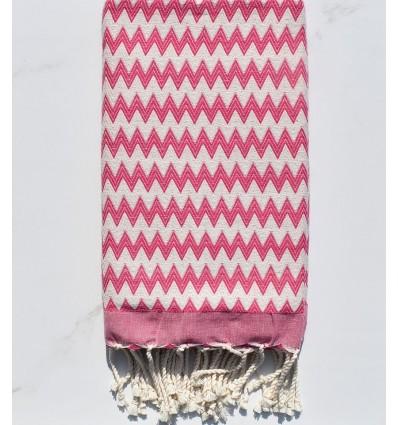 zigzag Carmine pink beach towel