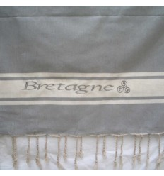 Embroidered mouse grey Bretagne fouta