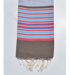 light gray,bistre,pink,azure and indigo beach towel