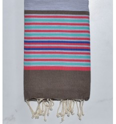 light gray, bistre, pink, green and blue beach towel