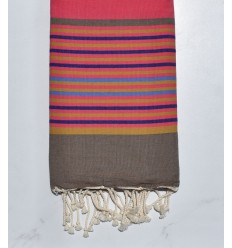Amaranth pink with stripes Fouta