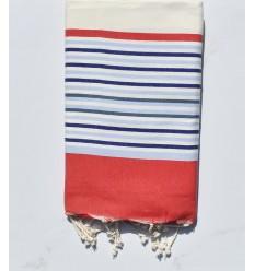 off-white, red, smoke blue, blue beach towel