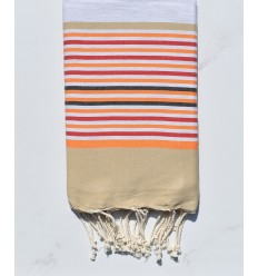 light gray, beige, orange, red and anthracite beach towel