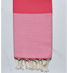 Honeycomb strawberry pink striped white fouta