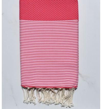 Honeycomb strawberry pink striped white fouta