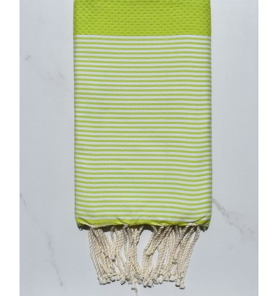 Honeycomb lime green striped white beach towel
