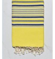 neon yellow and blue arabesque beach towel