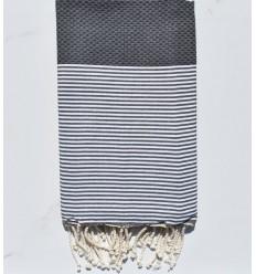 HONEYCOMB iron grey striped white fouta