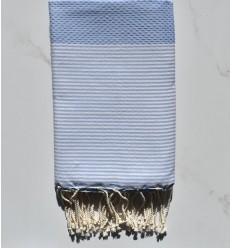 HONEYCOMB smoky blue striped white fouta
