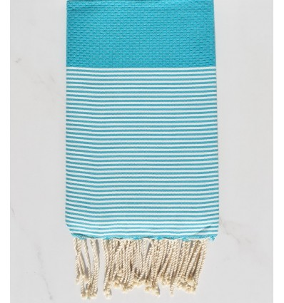 Honeycomb turquoise blue striped white fouta