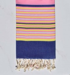 pink, denim blue, yellow, light gray and anthracite beach towel