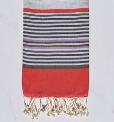 gray,red,military green,purple and purple beach towel