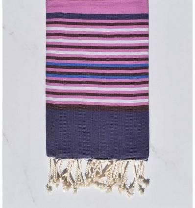 dark indigo, colombine, purplish pink, light gray and blue beach towel