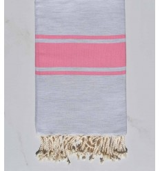 Flat light grey striped candy pink fouta
