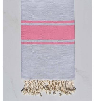 Flat light grey striped candy pink fouta