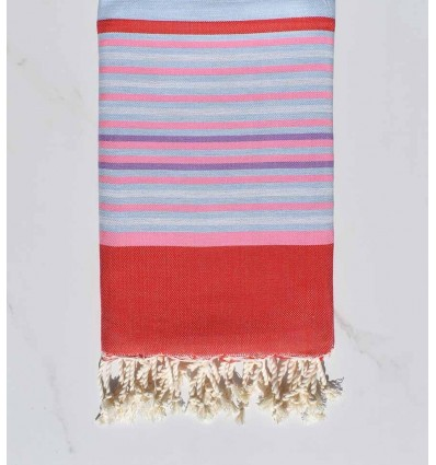 red, light pink, pale blue, light gray and purple beach towel