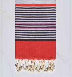 gray, colombin, indigo, pink and red beach towel