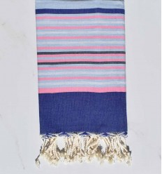 blue, light pink, light gray and slate beach towel