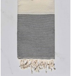 Honeycomb cream beige striped black fouta