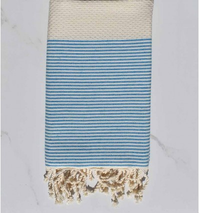 honeycomb Cream striped blue