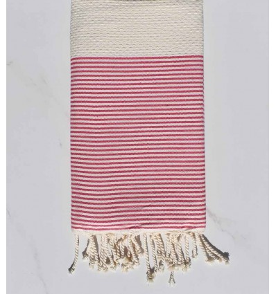 Beach Towel light beige striped pink