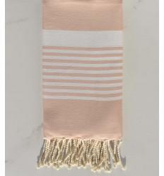 Arthur salmon pink striped white fouta